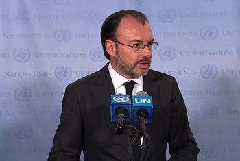 El secretario de Exteriores de México, Luis Videgaray, comparece ante la prensa. Foto: Captura de pantalla