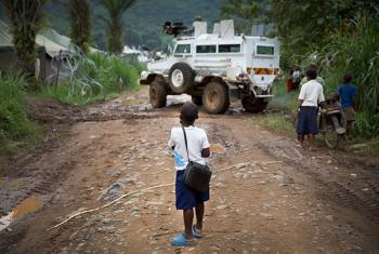 Un vehículo de la misión de la ONU en la República Democrática del Congo (MONUSCO) en la ciudad de Pinga, en Kivu Norte.