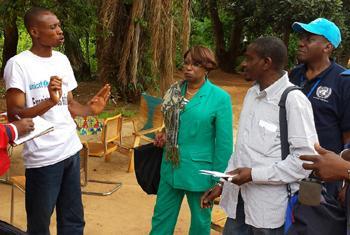 Visite à Bangassou de l'Experte indépendante des Nations Unies sur la situation des droits de l'homme en RCA, Marie-Thérèse Keita Bocoum en 2014