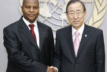 Faustin-Archange Touadera avec Ban Ki-moon, Secrétaire général des Nations Unies - Archives (Crédit