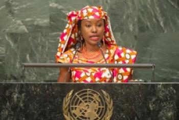 Hindou Oumarou Ibrahim lors de son intervention à la cérémonie de signature de l'Accord de Paris sur le climat.