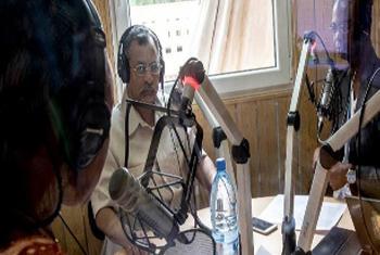 Le Représentant spécial du Secrétaire général de l'ONU au Mali, chef de la MINUSMA Mahamat Saleh Annadif, interviewé par Karim Djinko et Mame Diarra Diop, de Radio Mikado FM