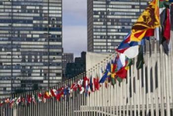 Drapeaux d'États membres de l'ONU, au Siège de l'Organisation à New York (Crédit