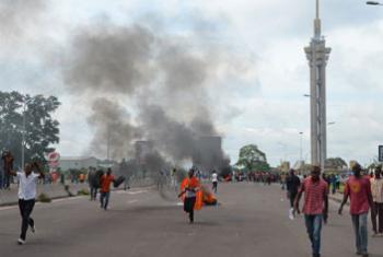 En septembre 2016, des manifestants à Kinshasa, la capitale de la République démocratique du Congo.