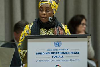 Julienne Lusenge, Présidente de l'ONG Fonds pour les femmes congolaises, lors de son intervention à l'ONU.