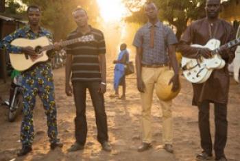 Les membres de Songhoy Blues (de g. à d.): Oumar Touré, Aliou Touré, Nathanel Dembélé et Garba Touré.