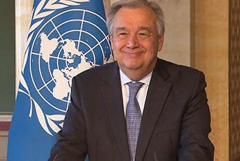 Le Secrétaire général des Nations Unies, António Guterres lors d'un point de presse à Berne, lundi 24 avril 2017. Capture d'écran