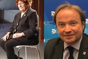 Louise Arbour, Représentante spéciale de l'ONU pour les migrations internationales et Jean-Christophe Bas, Fondateur et Président de Global Compass.