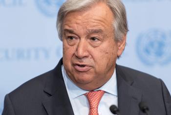 Le Secrétaire général des Nations Unies António Guterres lors d'un point de presse à l'ONU. (