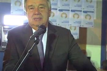 Le Secrétaire général de l'ONU António Guterres à Banqui en Centrafrique. Capture d'écran video MINUSCA
