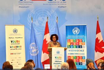 Michaelle Jean, Secrétaire générale de l'Organisation internationale de la francophonie, lors de la Conférence ministérielle sur le maintien de la paix à Vancouver, au Canada. (photo : @MichaelleJeanF)