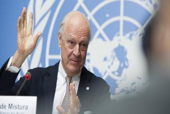 Staffan de Mistura, Envoyé spécial des Nations Unies pour la Syrie lors de sa conférence de presse ce jeudi soir au Palais des Nations à Genève (