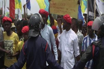 Des manifestations en République démocratique du Congo. Pour l'ONU, il est crucial de permettre l'expression pacifique de la contestation (photo d'archives: MONUSCO).