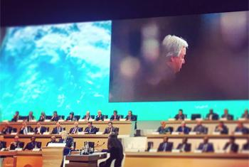 Le Secrétaire général de l'ONU intervenant lors du on e Planet SUmmit à Paris. (Photo : @antonioguterres)