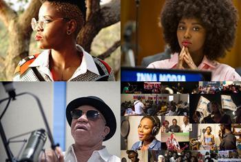 """La chanteuse sud-africaine Toya Delazy, la chanteuse malienne Inna Modja, le musicien malien Salif Keita et les divers artistes de """"Vwa Ayiti pou lape"""" ont tous mis leur voix et talents au servide de l'ONU en 2017."""