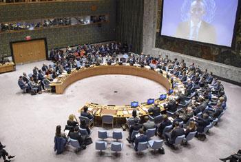 Nickolay Mladenov, le Coordonnateur spécial pour le processus de paix au Moyen-Orient, informe le Conseil de sécurité par visioconférence depuis Jérusalem.