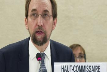 Le Chef des droits de l'homme de l'ONU, Zeid Ra'ad Al Hussein, lors de la 36e session du Conseil des droits de l'homme à Genève (Photo d'archives: ONU/J. M. Ferré).