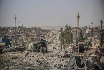 Scène de destruction à Tammuz, l'un des districts les plus importants de la ville de Mossoul, en Iraq.