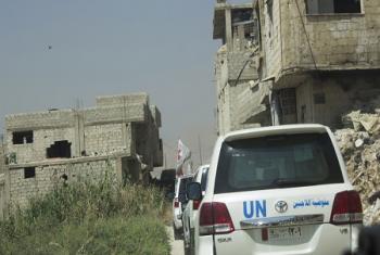 Un convoi inter-agences se rendant à Douma, dans la Ghouta orientale, dans la zone tampon traversant la ligne de conflit. (archive)