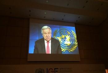 Le Secrétaire général de l'ONU, Antonio Guterres, lors de son allocution retransmise par vidéo à l'ouverture du 12e Forum sur la Gouvernance d'internet (