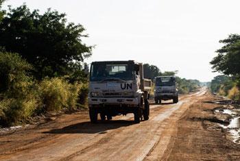 Des véhicules de la MINUSS sur la route reliant Juba à Bor au Soudan du Sud (archives). Photo MINUSS