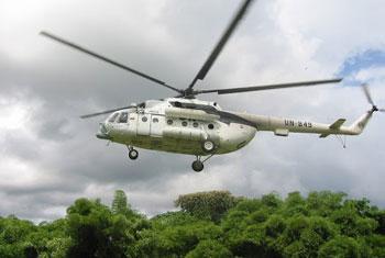 Hélicoptère de type MI-8 utilisé par la MONUSCO, semblable à celui pris pour cible samedi dernier à Fizi (Photo : crédit MONUSCO/Radio Okapi)