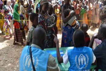 Après l'enregistrement, le HCR et ses partenaires apportent de l'aide aux réfugiés centrafricains nouvellement arrivés dans des villages du Tchad (