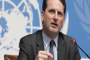 Pierre Krähenbühl, Commissaire-Général de l'UNRWA, lors de sa conférence de presse ce mardi 30 janvier 2018 au Palais des Nations, siège du Bureau européen de l'ONU à Genève (