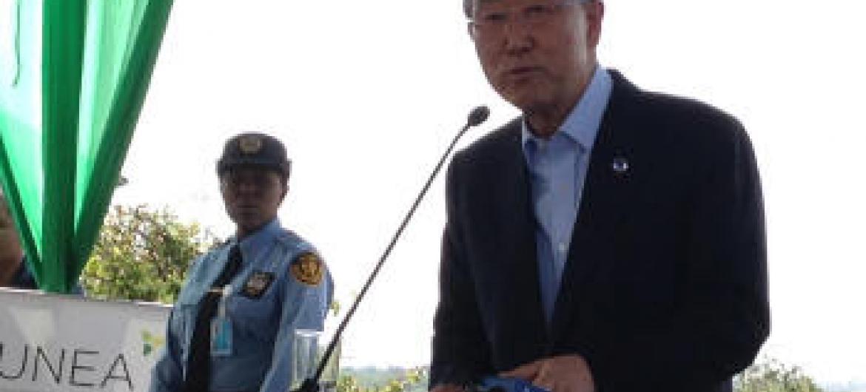 Ban Ki-moon na Assembleia da ONU sobre o Meio Ambiente em Nairóbi, no Quênia. Foto: Rádio ONU