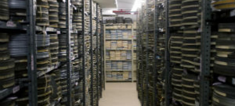 Arquivo audiovisual na sede da ONU. Foto: ONU/Ryan Brown