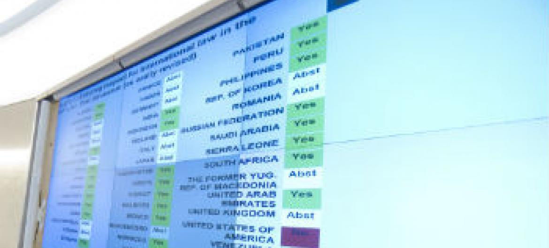 Votação da resolução em Genebra. Foto: ONU/Violaine Martin