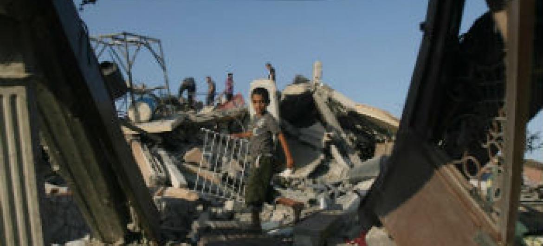 Casa destruída em Gaza. Foto: Unicef/Eyad El Baba