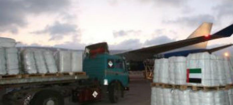 Suprimentos foram enviados a famílias deslocadas em Gaza. Foto: Unrwa