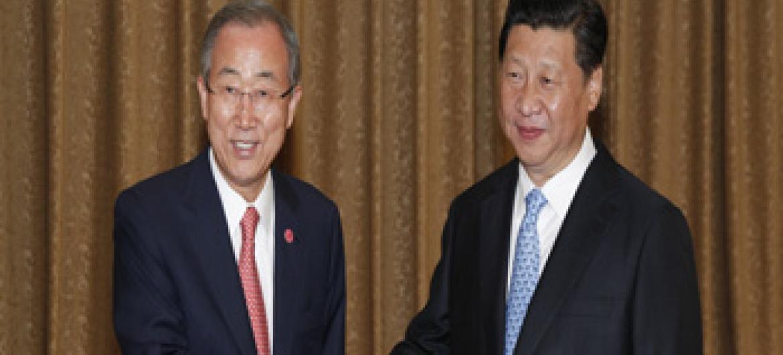 Secretário-geral da ONU, Ban Ki-moon e presidente da China, Xi Jinping. Foto: ONU/Paulo Filgueiras.