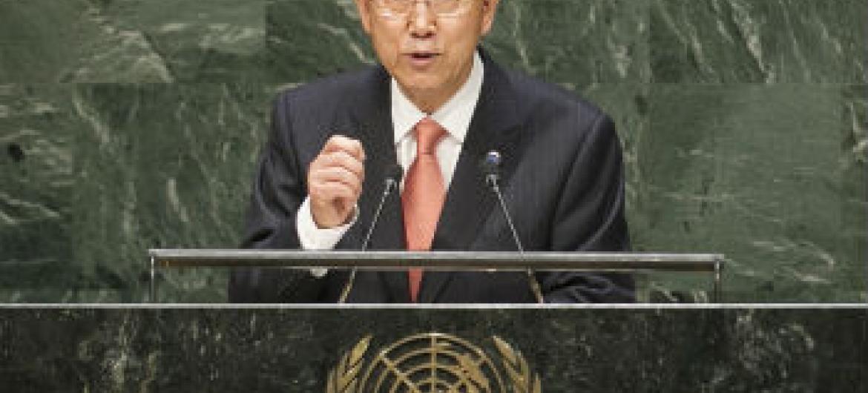 Ban Ki-moon discursa na Assembleia Geral da ONU. Foto: ONU/Cia Pak