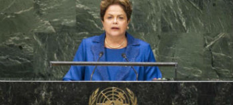 Dilma Rousseff em discursa na 69ªAssembleia Geral. Foto: ONU/Mark Garten
