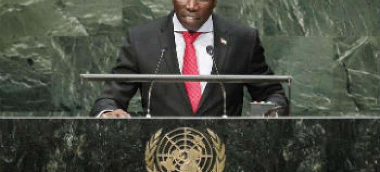 Domingos Simões Pereira em discurso na Assembleia Geral. Foto: ONU/Cia Pak