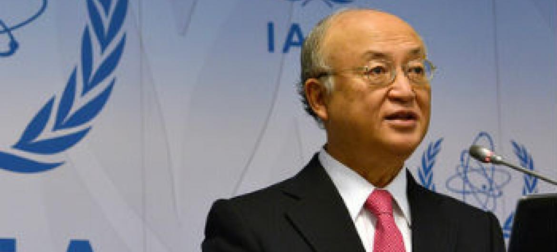Yukiya Amano discursa em Viena. Foto: AIEA/Dean Calma