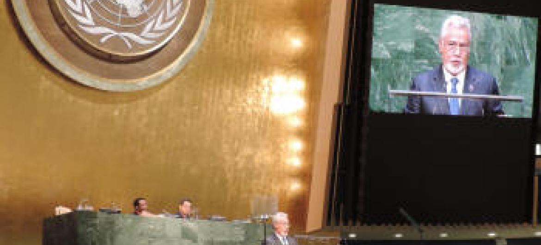 Xanana Gusmão em discurso na Assembleia Geral. Foto: Rádio ONU