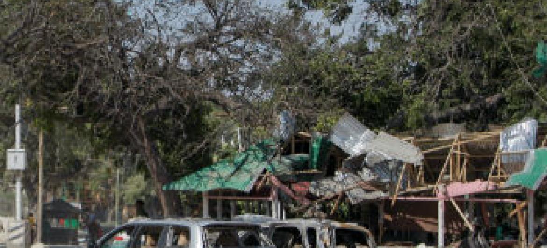 Atentado em Mogadíscio ocorrido em setembro de 2013. Foto: ONU/Stuart Price
