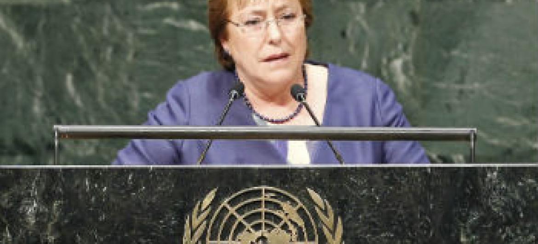 Michelle Bachelet em discursa na Assembleia Geral de 2014. Foto: ONU/Kim Haughton