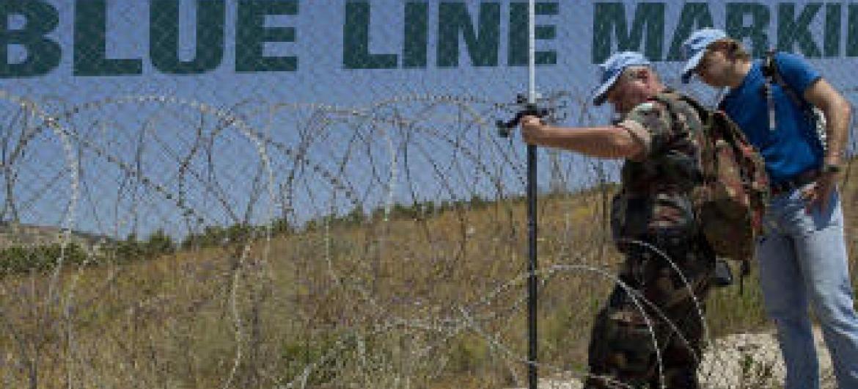 """""""Linha-Azul"""", faixa que divide o Israel e o Líbano. Foto: Unifil"""