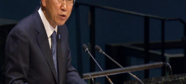 Ban Ki-moon na Assembleia Geral. Foto: ONU