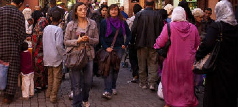 Turistas em Marrakech, no Marrocos. Foto: Banco Mundial/Arne Hoel