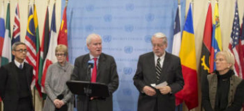 Comissão de Inquérito sobre a Síria em coletivo de imprensa. Foto: ONU/Eskinder Debebe