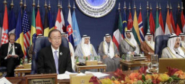 Ban Ki-moon na Terceira Conferência Internacional de Arrecadação para a Síria. Foto: ONU/Evan Schneider
