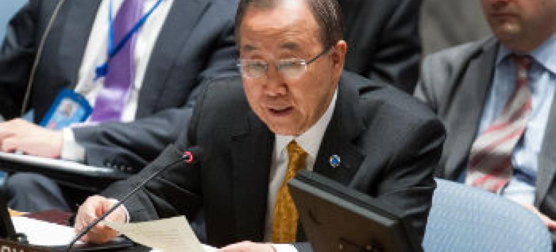 Ban Ki-moon nesta sexta-feira em reunião no Conselho de Segurança. Foto: ONU/Loey Felipe