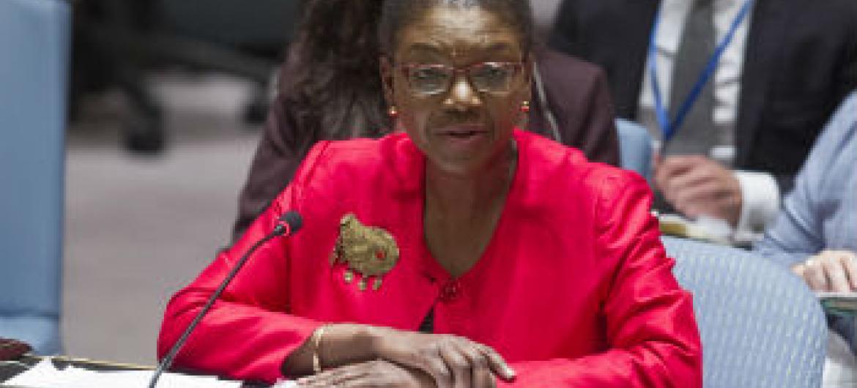 Valerie Amos no Conselho de Segurança nesta quinta-feira. Foto: ONU//Loey Felipe
