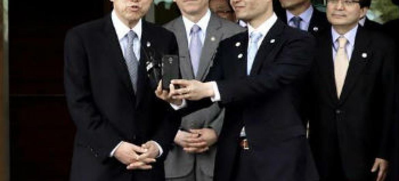 Ban Ki-moon na Coreia do Sul. Foto: ONU/Evan Schneider