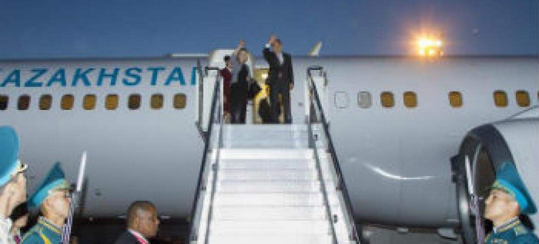 Ban Ki-moon em visita à Ásia Central. Foto: ONU/Rick Bajornas